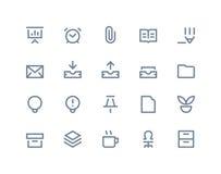 De pictogrammen van het bureau Lijnreeks Stock Foto