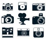 De pictogrammen van het cameraembleem Foto'spictogrammen stock illustratie