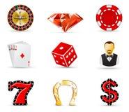 De pictogrammen van het casino en het gokken Stock Afbeelding
