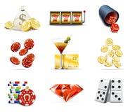 De pictogrammen van het casino en het gokken Stock Fotografie