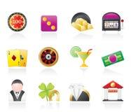 De pictogrammen van het casino en het gokken Stock Foto