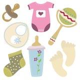 De pictogrammen van het de babymateriaal van het beeldverhaal Stock Fotografie