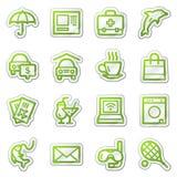 De pictogrammen van het de dienstWeb van het hotel, groene stickerreeks Royalty-vrije Stock Foto