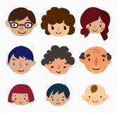 De pictogrammen van het de familiegezicht van het beeldverhaal Stock Afbeelding