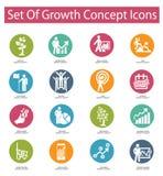 De pictogrammen van het de groeiconcept, Kleurrijke versie Stock Foto's
