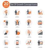 De pictogrammen van het de groeiconcept, Oranje versie Royalty-vrije Stock Foto's