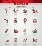 De pictogrammen van het de groeiconcept, Rode versie Royalty-vrije Stock Afbeelding