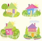 De pictogrammen van het de lentehuis Stock Afbeeldingen
