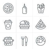 De Pictogrammen van het de Stijl Snelle Voedsel van lijnpictogrammen Stock Afbeelding