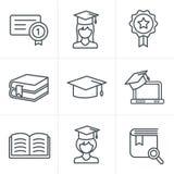 De pictogrammen van het de Stijlonderwijs van lijnpictogrammen Royalty-vrije Stock Fotografie