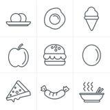 De pictogrammen van het de Stijlvoedsel van lijnpictogrammen Royalty-vrije Stock Foto's