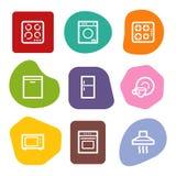 De pictogrammen van het de toestellenWeb van het huis, de reeks van kleurenvlekken vector illustratie