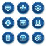 De pictogrammen van het de veiligheidsWeb van Internet, blauwe cirkelknopen Stock Foto