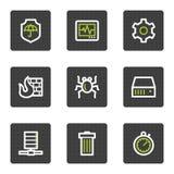 De pictogrammen van het de veiligheidsWeb van Internet, grijze vierkante knopen Royalty-vrije Stock Fotografie