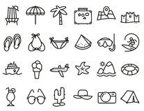De pictogrammen van het de zomerstrand die in lijn worden geplaatst dun en eenvoudig stijl pictogram stock illustratie
