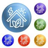 De pictogrammen van het Ecohuis geplaatst vector vector illustratie