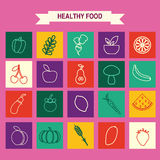De pictogrammen van het Ecovoedsel geplaatst Groenten en vruchten Royalty-vrije Stock Afbeelding
