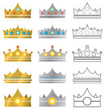 De Pictogrammen van het Embleem van de kroon Stock Fotografie