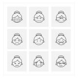 De pictogrammen van het emotiebeeldverhaal Royalty-vrije Stock Foto