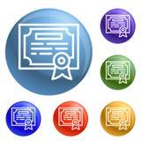 De pictogrammen van het financiëndiploma geplaatst vector stock illustratie