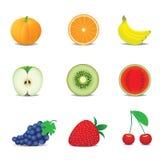De pictogrammen van het fruit Stock Foto's