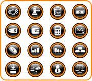 De pictogrammen van het geld Stock Fotografie
