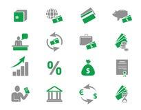 De pictogrammen van het geld en van de bank Royalty-vrije Stock Afbeeldingen