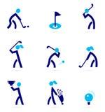 De pictogrammen van het golf en sportelementen Stock Fotografie