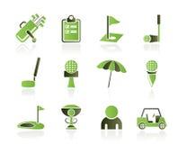 De pictogrammen van het golf en van de sport Stock Afbeeldingen