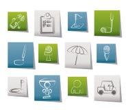 De pictogrammen van het golf en van de sport Stock Foto