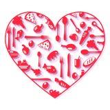 De pictogrammen van het hartvoedsel Stock Foto's