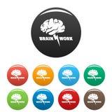 De pictogrammen van het hersenenwerk geplaatst kleur vector illustratie