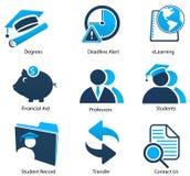 De Pictogrammen van het hoger onderwijs plaatsen Twee Royalty-vrije Stock Afbeelding