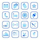 De pictogrammen van het hotel - Blauwe Reeks Stock Fotografie