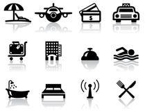 De pictogrammen van het hotel en van de reis Stock Foto's