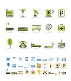 De pictogrammen van het hotel en van het motel Stock Afbeeldingen