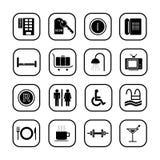 De pictogrammen van het hotel - reeks B&W Stock Afbeeldingen
