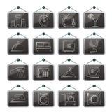 De pictogrammen van het hotel, van het motel en van de reis Stock Afbeelding