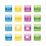 De pictogrammen van het huishoudengoederen van Aqua Royalty-vrije Stock Fotografie