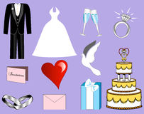 De Pictogrammen van het huwelijk Stock Foto's