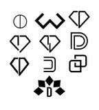 De pictogrammen van het juwelenembleem Stock Afbeeldingen