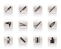 De pictogrammen van het kappen, van het kapsel en van de samenstelling stock illustratie