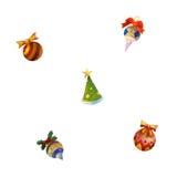 De pictogrammen van het Kerstmisspeelgoed op witte achtergrond worden geïsoleerd die Royalty-vrije Stock Foto