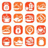 De pictogrammen van het kleurenvoedsel Royalty-vrije Stock Afbeeldingen