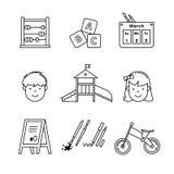 De pictogrammen van het kleuterschoolonderwijs verdunnen de reeks van de lijnkunst Royalty-vrije Stock Foto's