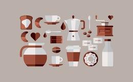 De pictogrammen van het koffieontbijt Stock Afbeeldingen