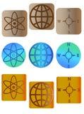 De pictogrammen van het kompas, van de bol en aansluting Stock Fotografie