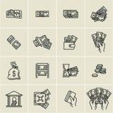De pictogrammen van het lijngeld, financiën, bedrijfs geplaatste pictogrammen, het geld van de handholding, de creditcard van de  stock illustratie