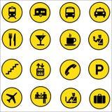De Pictogrammen van het luchthavenwinkelcomplex geplaatst illustrator Royalty-vrije Stock Fotografie