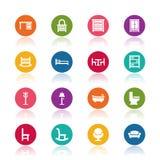 De pictogrammen van het meubilair Stock Afbeeldingen